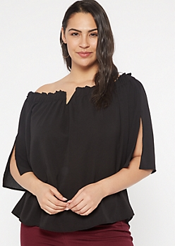 Plus Black Off The Shoulder Notch Neck Top