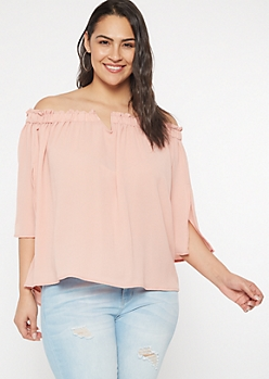 Plus Medium Pink Off The Shoulder Notch Neck Top