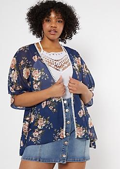 Plus Navy Floral Print Chiffon Kimono