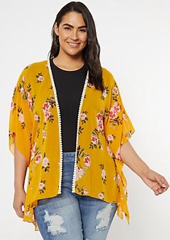 Plus Mustard Floral Print Chiffon Kimono
