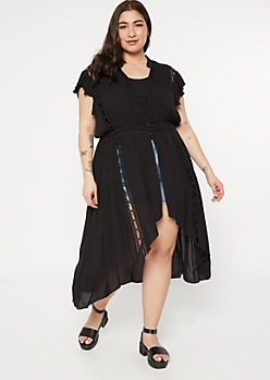Plus Black Crochet Flutter Trim Duster