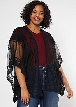 Plus Black Crochet Mesh Kimono