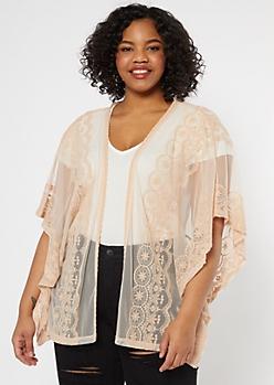 Plus Beige Crochet Mesh Kimono