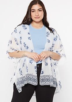 Plus White Rose Floral Print Kimono