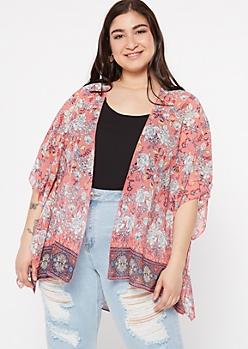 Plus Coral Paisley Floral Print Kimono
