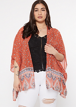 Plus Burnt Orange Paisley Floral Print Kimono