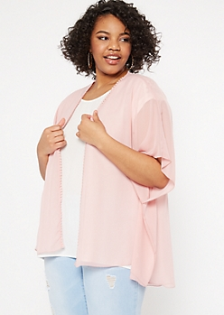 Plus Light Pink Crochet Trim Kimono