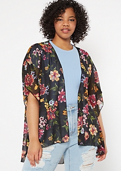 Plus Black Floral Print Crochet Kimono