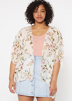 Plus Ivory Floral Print Crochet Kimono