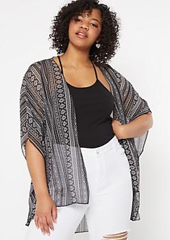 Plus Black Border Print Crochet Kimono