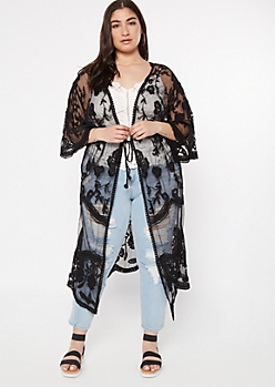 Plus Black Floral Crochet Mesh Tie Front Kimono