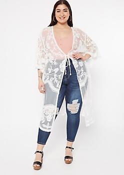 Plus White Floral Crochet Mesh Tie Front Kimono