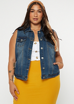 Plus Medium Wash Jean Vest