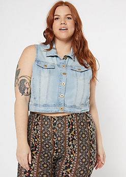 Plus Light Wash Jean Distressed Vest