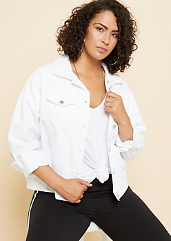 Plus White Distressed Jean Jacket