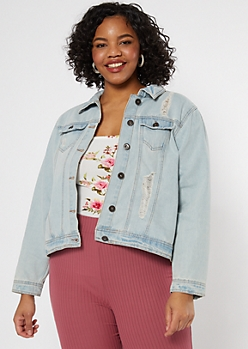 Plus Light Wash Ripped Jean Jacket