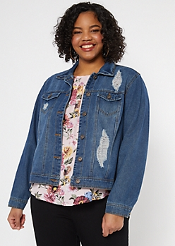 Plus Dark Wash Ripped Jean Jacket