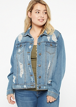 Plus Medium Wash Distressed Jean Jacket
