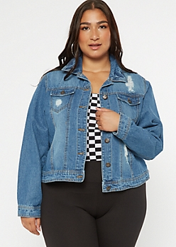 Plus Medium Wash Ripped Jean Jacket