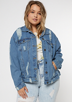 Plus Medium Wash Ripped Trucker Jacket
