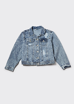 Plus Light Acid Wash Ripped Jean Jacket