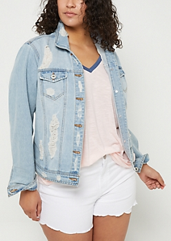 Plus Light Wash Distressed Jean Jacket