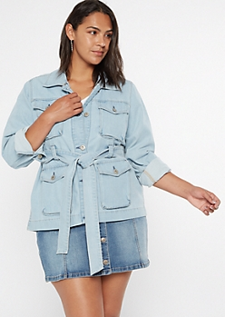 Plus Light Wash Short Denim Trench