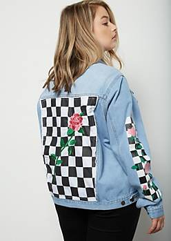 Plus Light Wash Checkered Print Side Striped Jean Jacket