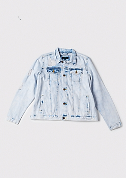 Plus Bleach Wash Short Jean Jacket