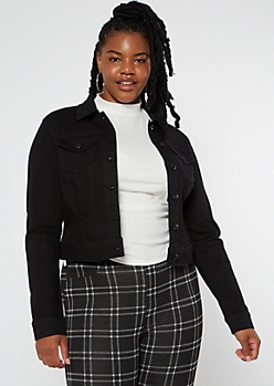 Plus Black Soft Stretch Jean Jacket