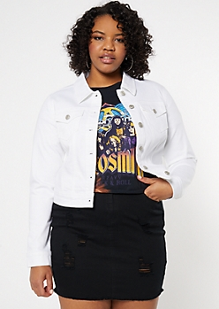Plus White Stretch Jean Jacket
