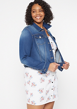 Plus Medium Wash Soft Stretch Jean Jacket