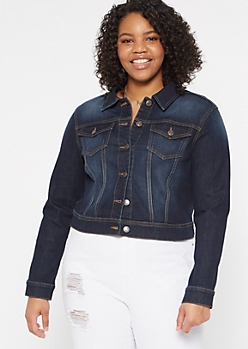 Plus Dark Wash Soft Stretch Jean Jacket