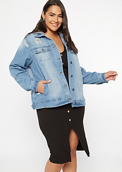 Plus Medium Wash Distressed Hooded Jean Jacket