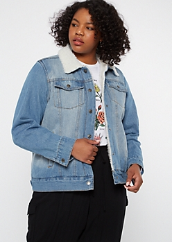 Plus Medium Wash Sherpa Jean Jacket