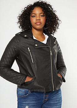 Plus Black Quilted Stud Faux Leather Jacket