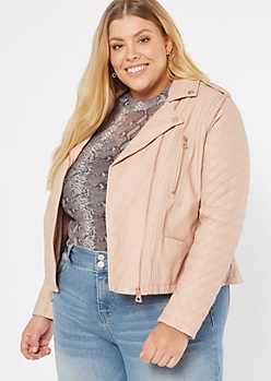 Plus Pink Quilt Moto Faux Leather Jacket