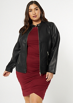 Plus Black Faux Leather Front Zip Jacket