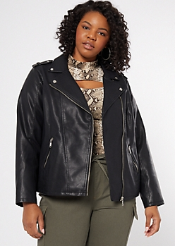 Plus Black Moto Hem Faux Leather Jacket