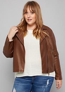 Plus Cognac Quilted Shoulder Moto Jacket