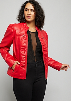 Plus Red Smocked Side Puff Sleeve Faux Leather Jacket