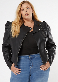Plus Black Faux Leather Moto Jacket