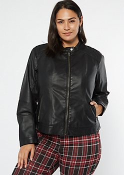 Plus Black Sherpa Lined Faux Leather Jacket