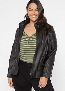 Plus Black Jersey Lined Faux Leather Jacket