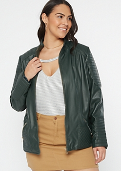 Plus Olive Jersey Lined Faux Leather Jacket