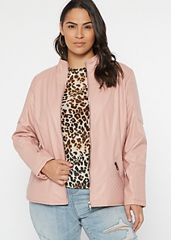 Plus Pink Jersey Lined Faux Leather Jacket