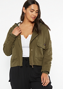 Plus Olive Cargo Hooded Jacket