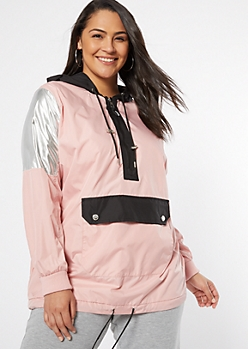 Plus Pink Metallic Colorblock Button Pocket Windbreaker