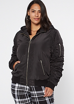 Plus Black Ruched Bomber Jacket