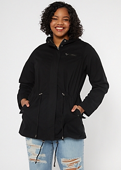 Plus Black Drawstring Hooded Anorak Jacket